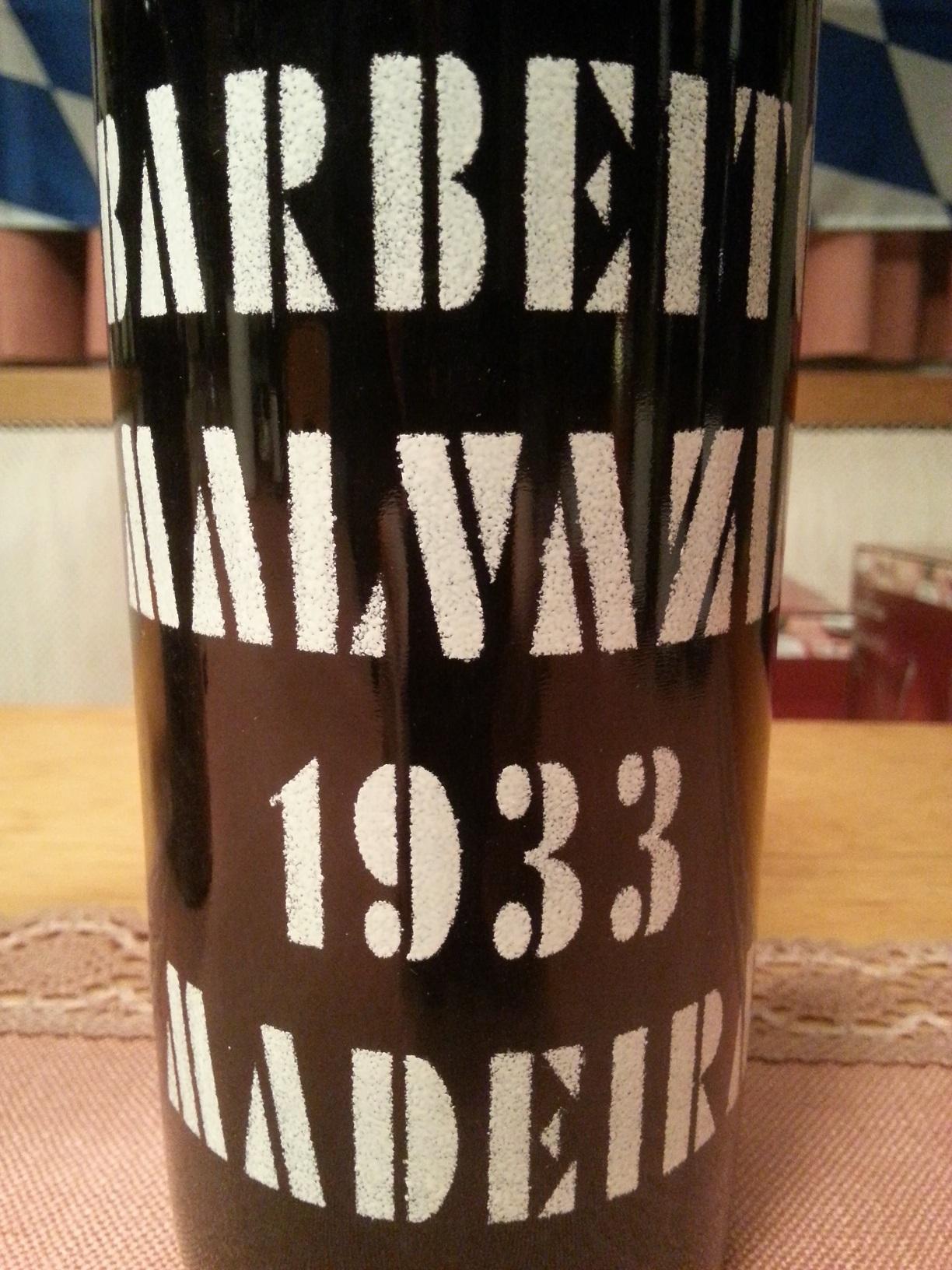 1933 Madeira Malvasia   Barbeito