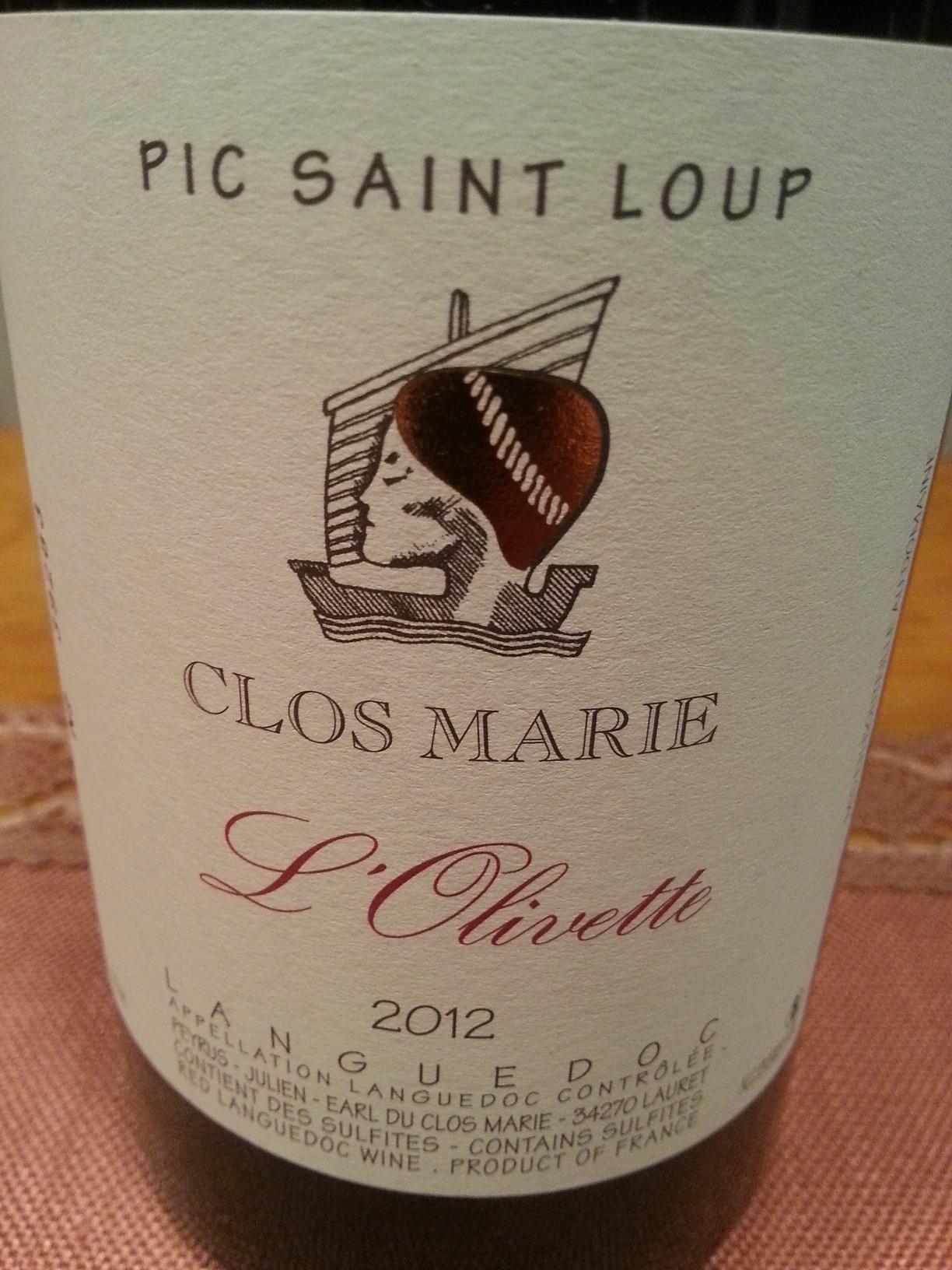 2012 L'Olivette Pic Saint Loup | Clos Marie