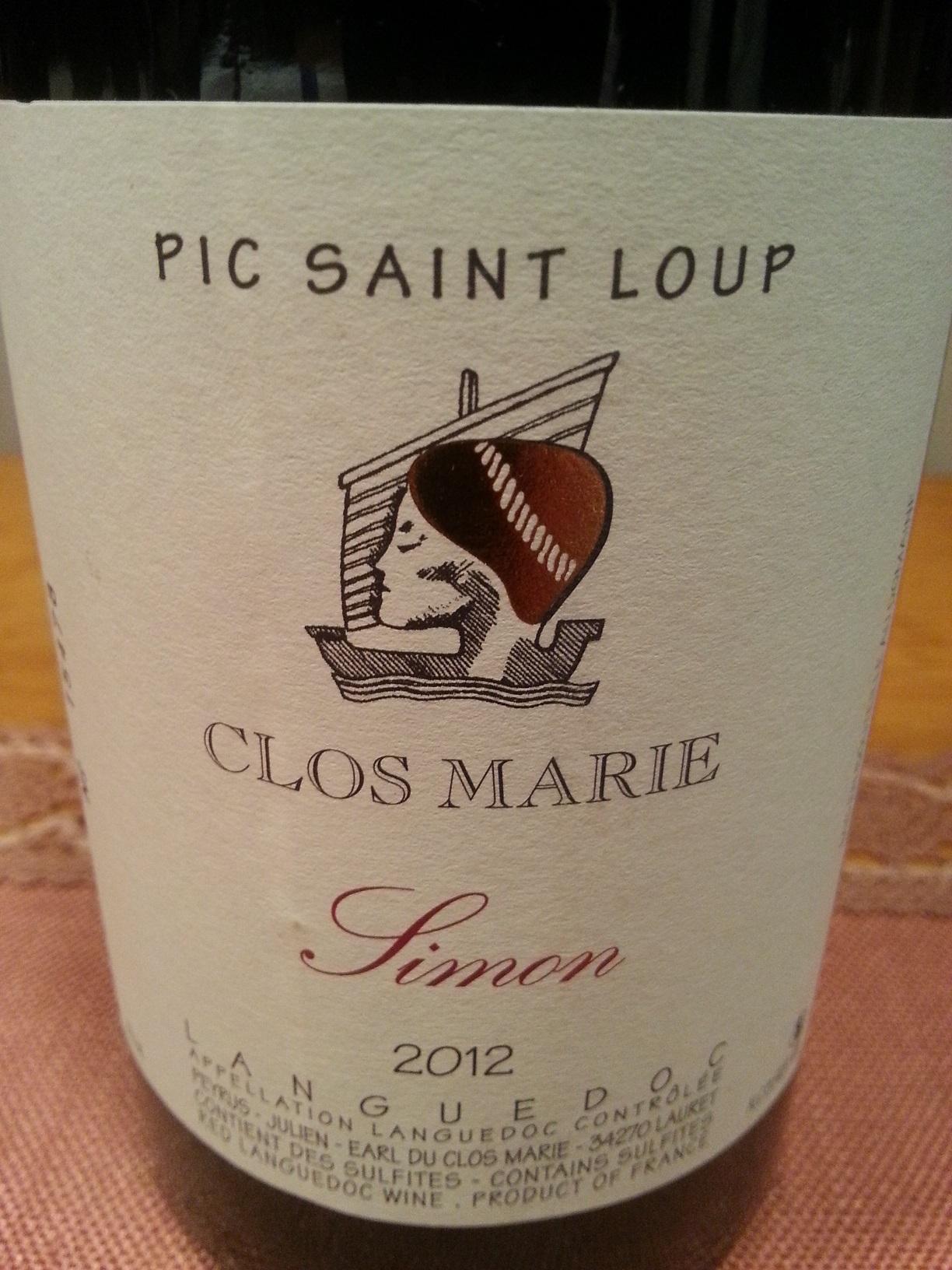 2012 Simon Pic Saint Loup | Clos Marie