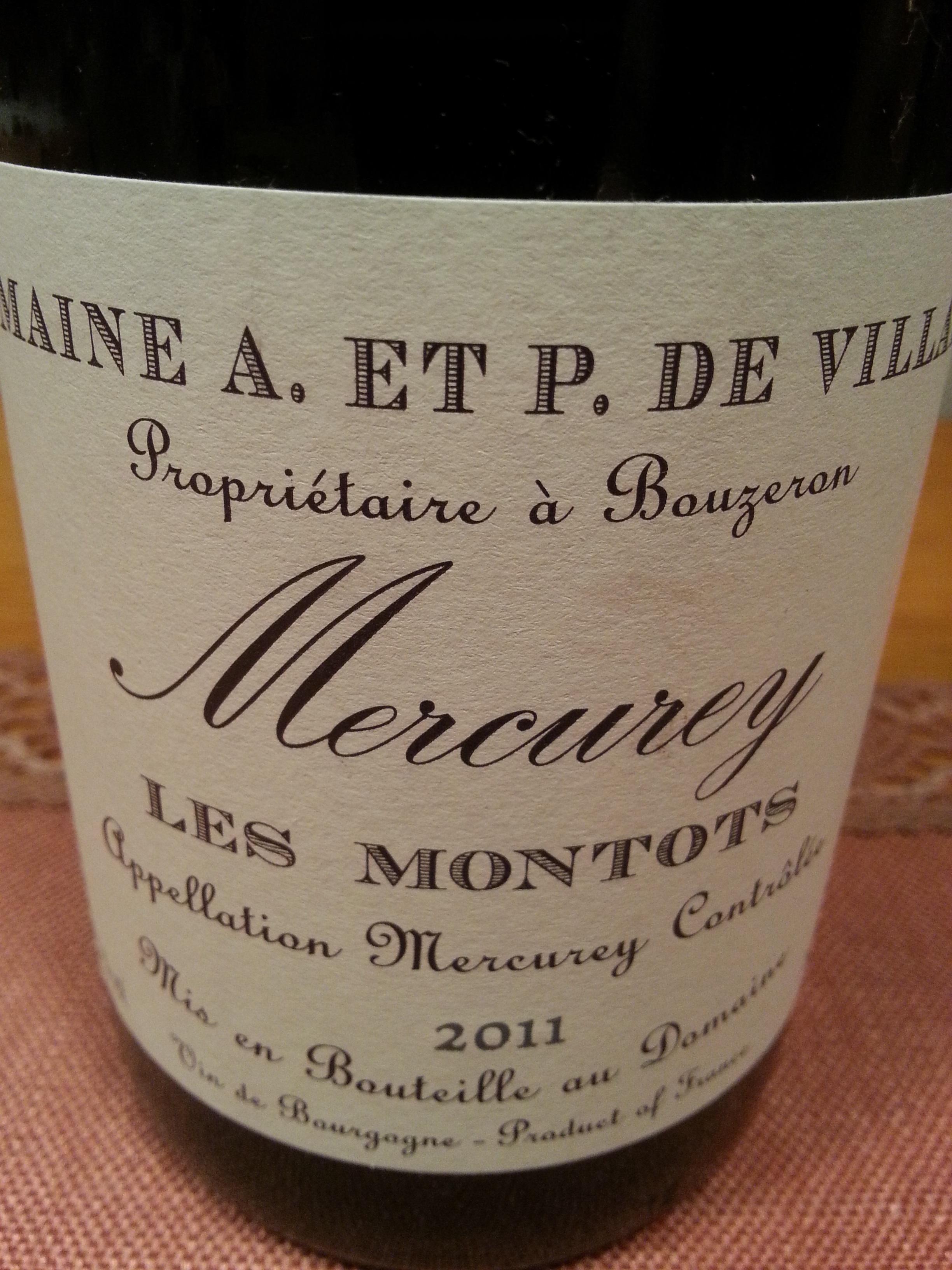 2011 Mercurey Les Montots   de Villaine