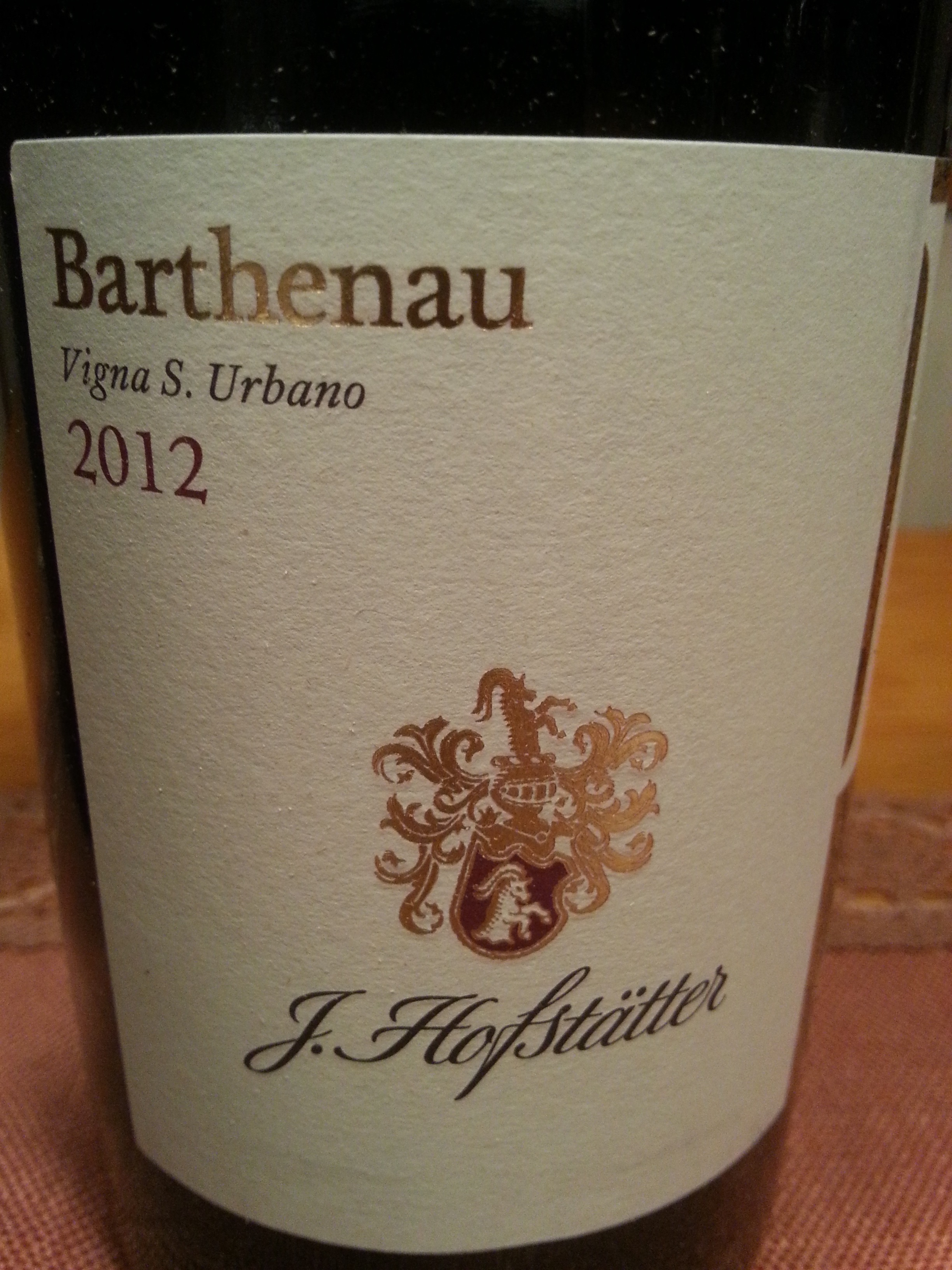 2012 Pinot Nero Barthenau Vigna S. Urbano   Hofstätter