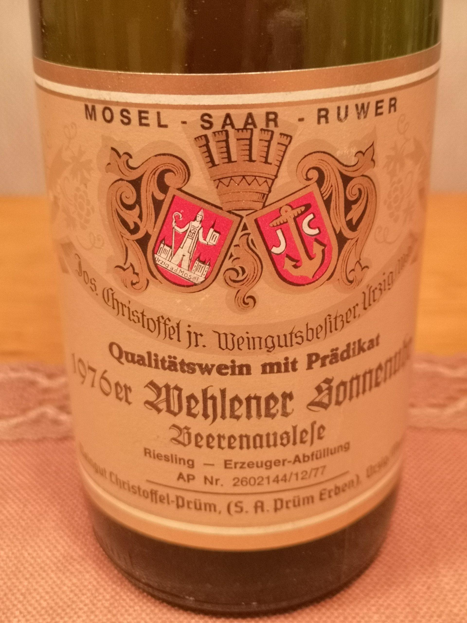 1976 Riesling Wehlener Sonnenuhr Beerenauslese | Jos. Christoffel jr.