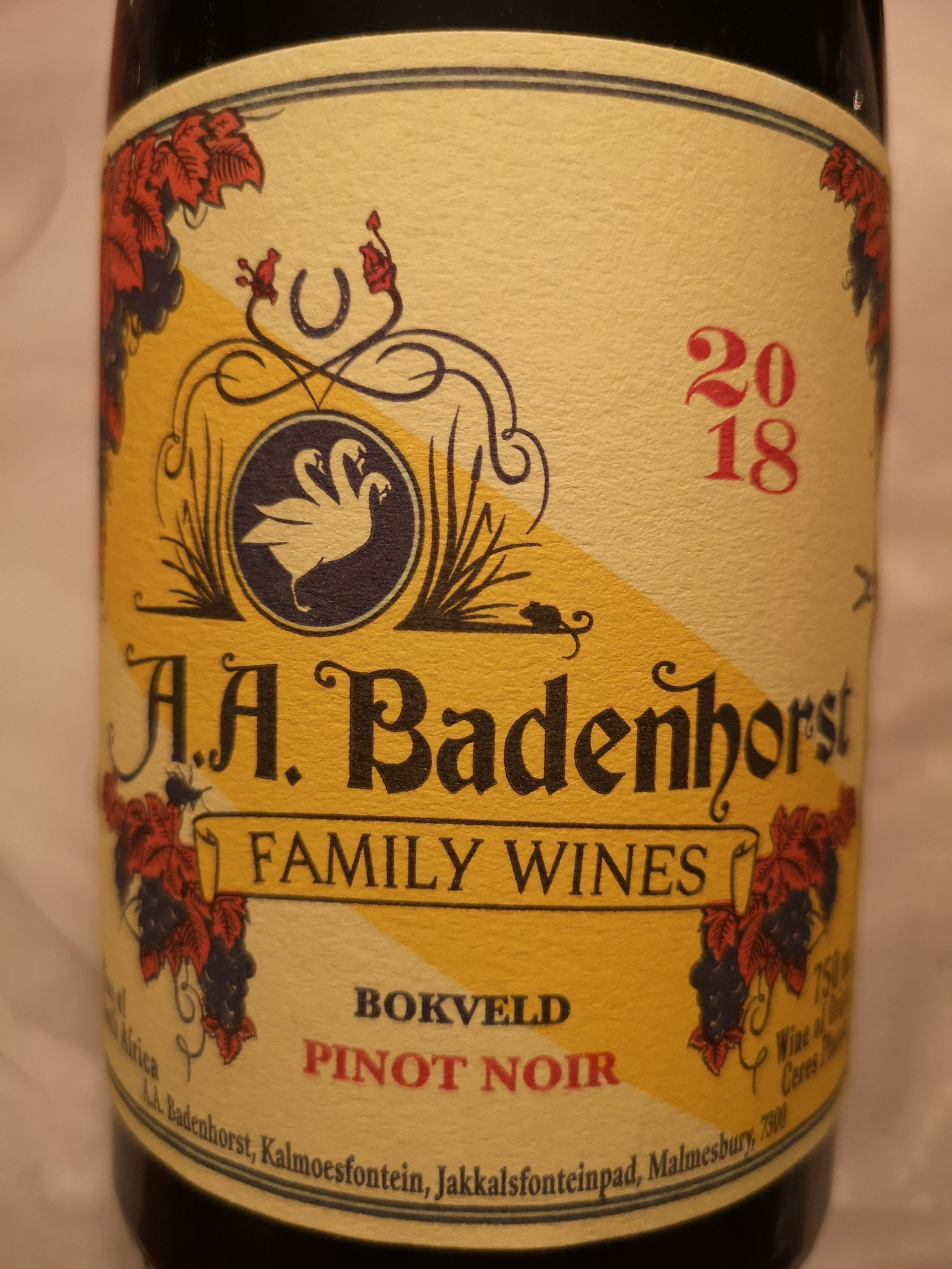 2018 Pinot Noir Bokveld | A.A. Badenhorst