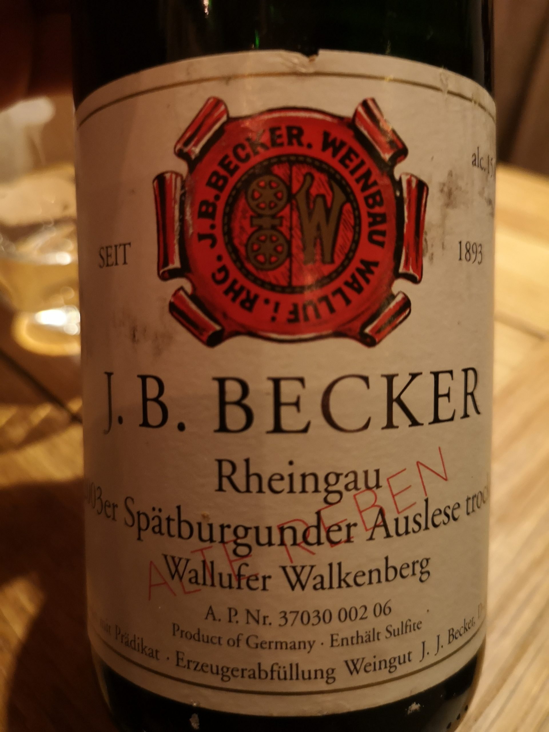 2003 Spätburgunder Wallufer Walkenberg   J.B. Becker