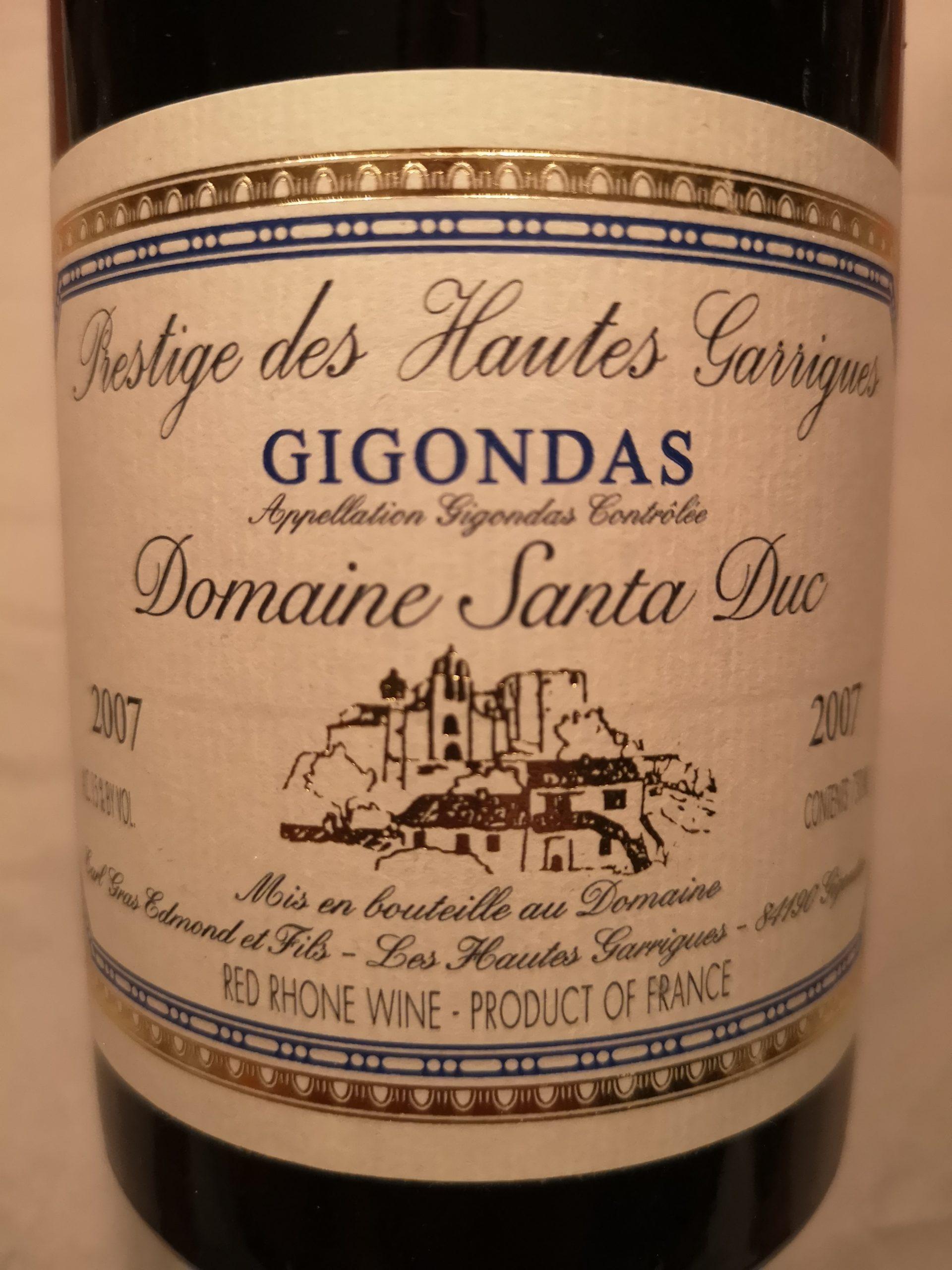 2007 Cuvée Prestige des Hautes Garrigues | Domaine Santa Duc