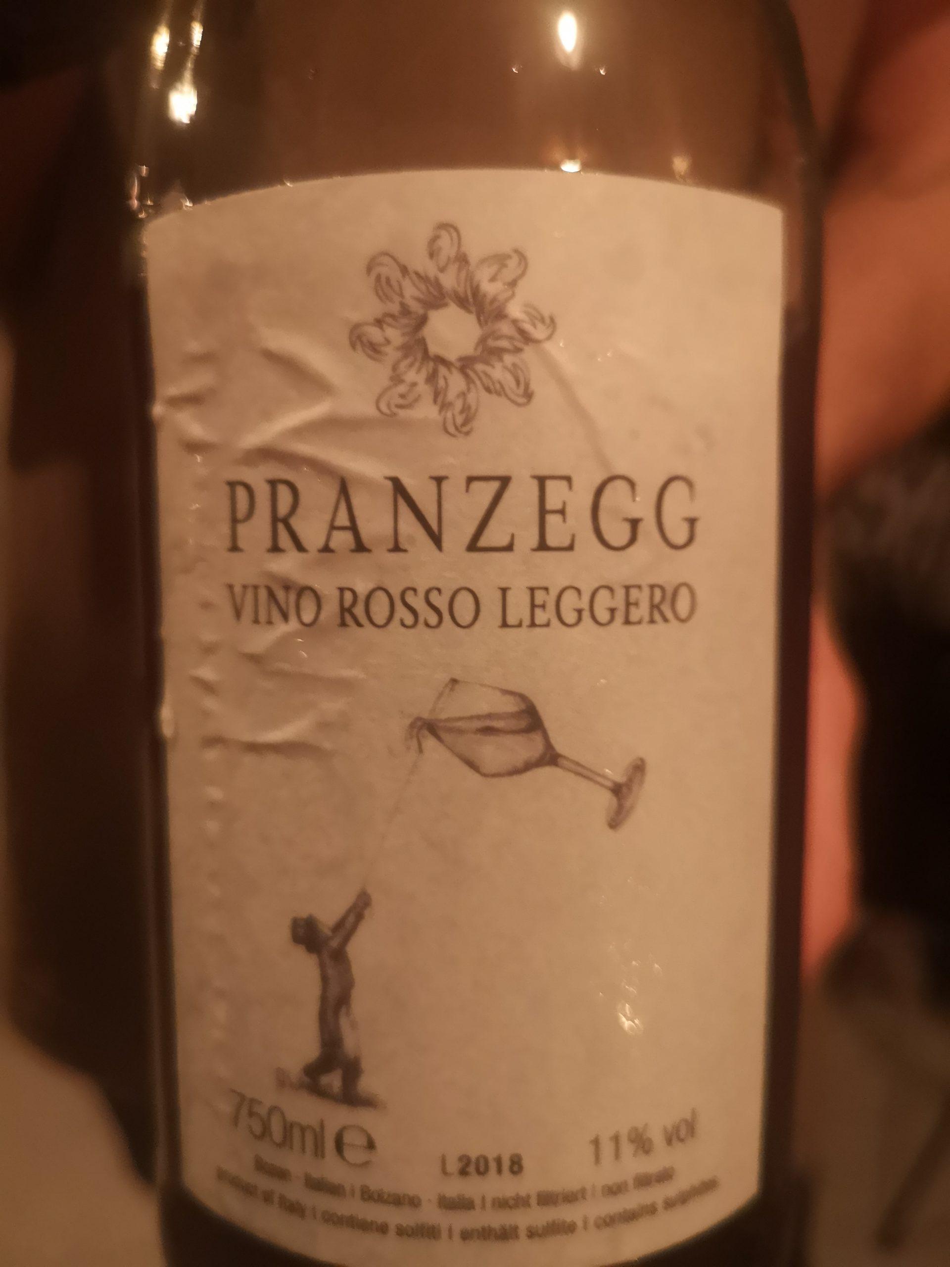 2018 Vino Rosso Leggero   Pranzegg